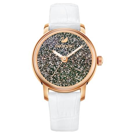 Montre Crystalline Hours, Bracelet en cuir, blanc, PVD doré rose - Swarovski, 5344635