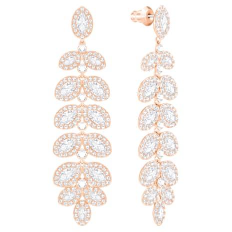Baron Pierced Earrings, White, Rose-gold tone plated - Swarovski, 5350617