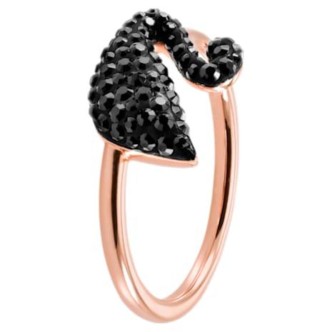 Swarovski Iconic Swan Ring, schwarz, Rosé vergoldet - Swarovski, 5358024