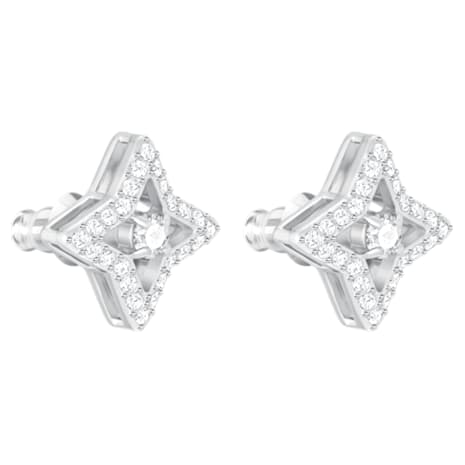 Sparkling Dance Star Stud Pierced Earrings, White, Rhodium plated - Swarovski, 5364218