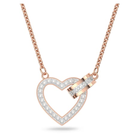Lovely Necklace, White, Rose-gold tone plated - Swarovski, 5368540