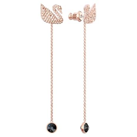Swarovski Iconic Swan Pierced Earrings, Brown, Rose-gold tone plated - Swarovski, 5373164