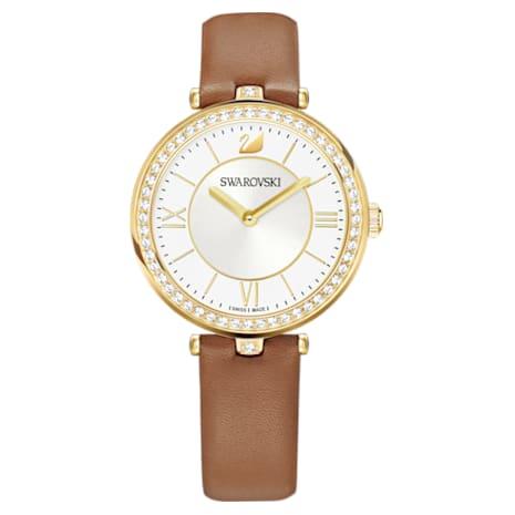 Aila Dressy Lady Watch, Leather strap, Brown, Gold-tone PVD - Swarovski, 5376645