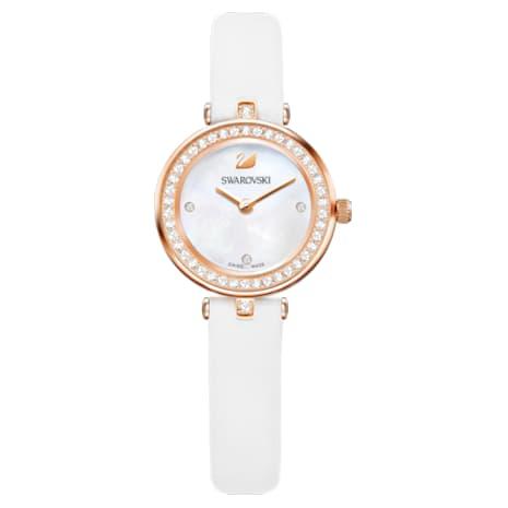 Aila Dressy Mini Watch, Leather strap, White, Rose-gold tone PVD - Swarovski, 5376651