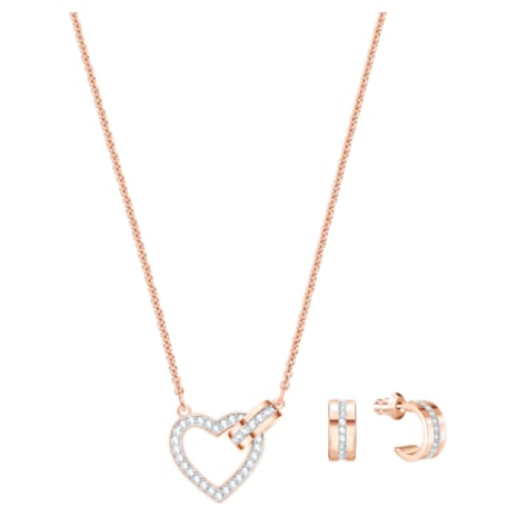 Lovely Set, White, Rose-gold tone plated - Swarovski, 5380718