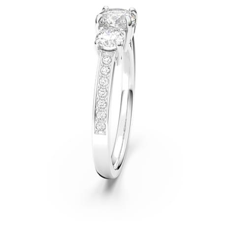 Attract Trilogy Round Кольцо, Белый Кристалл, Родиевое покрытие - Swarovski, 5414972
