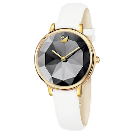 Crystal Lake Watch, Leather strap, White, Gold-tone PVD - Swarovski, 5416003