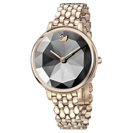 Crystal Lake Watch, Metal bracelet, Dark grey, Champagne-gold tone PVD - Swarovski, 5416026