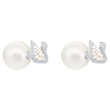 Pendientes de botón Iconic Swan, blanco, baño de rodio - Swarovski, 5416591