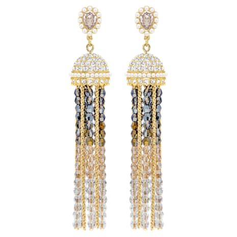 Millennium Clip Earrings, Multi-coloured, Gold-tone plated - Swarovski, 5416882