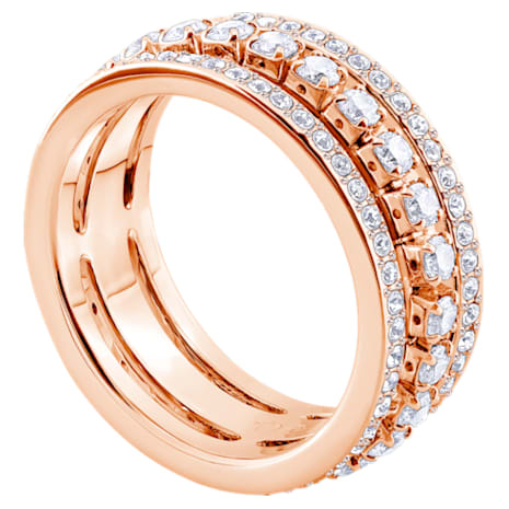 Further Ring, White, Rose-gold tone plated - Swarovski, 5419854