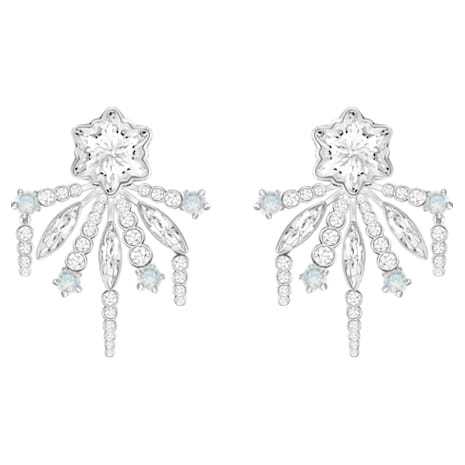 Merry Pierced Earring Jackets, White, Rhodium plated - Swarovski, 5423691