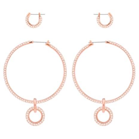 Stone Pierced Earring Set, Pink, Rose-gold tone plated - Swarovski, 5426004