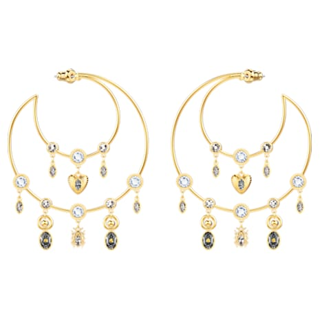 Magnetic Hoop Pierced Earrings, Multi-coloured, Gold-tone plated - Swarovski, 5426604
