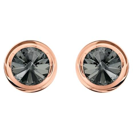 Round Kol Düğmesi, Gri, Pembe altın rengi kaplama - Swarovski, 5429900