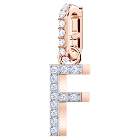 Swarovski Remix Collection Charm F, White, Rose-gold tone plated - Swarovski, 5437616