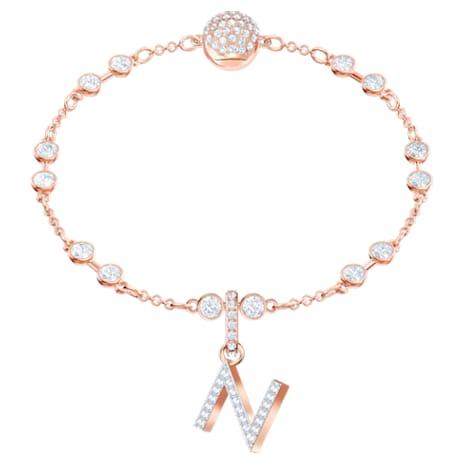 Swarovski Remix Collection Charm N, White, Rose-gold tone plated - Swarovski, 5437623