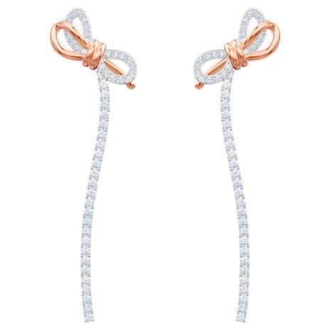 Lifelong Bow Pierced Earrings, White, Mixed metal finish - Swarovski, 5447083