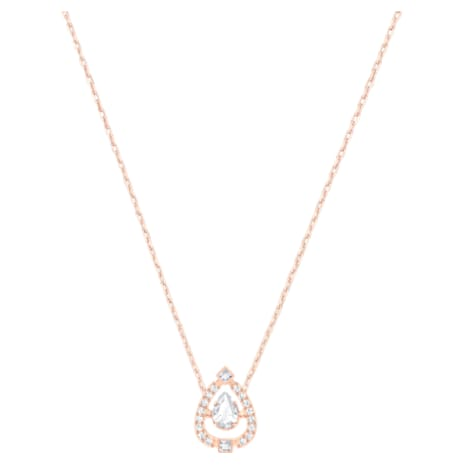 Swarovski Sparkling Dance Pear 項鏈, 白色, 鍍玫瑰金色調 - Swarovski, 5451993