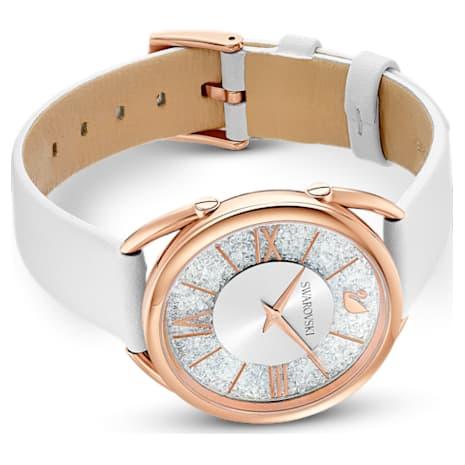 Crystalline Glam Watch, Leather Strap, White, Rose-gold tone PVD - Swarovski, 5452459