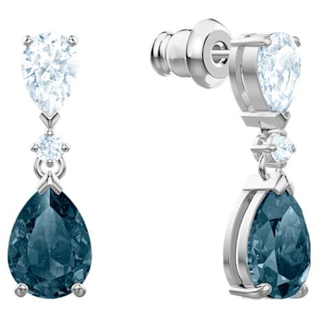 Vintage Pierced Earrings, Blue, Rhodium plated - Swarovski, 5452579