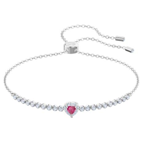 One Bracelet, Red, Rhodium plated - Swarovski, 5456813