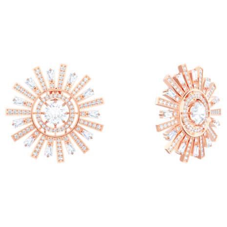 Sunshine Clip Earrings, White, Rose-gold tone plated - Swarovski, 5464833
