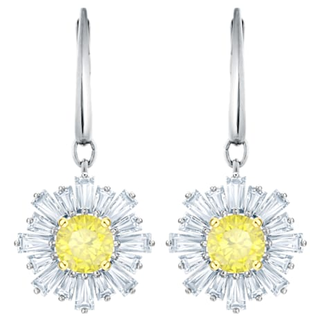 Sunshine Pierced Earrings, White, Rhodium plated - Swarovski, 5479914