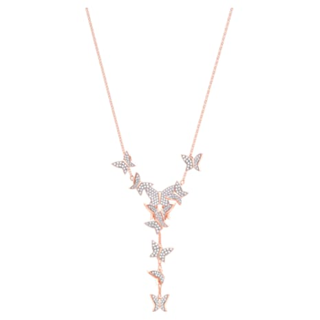 Lilia Y Necklace, White, Rose-gold tone plated - Swarovski, 5480512
