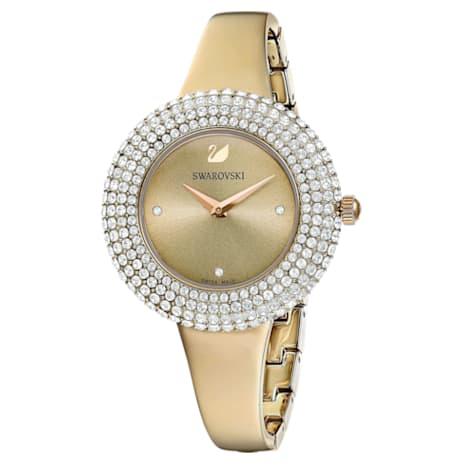 Crystal Rose Saat, Metal bileklik, Altın, Şampanya altın rengi PVD - Swarovski, 5484045