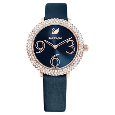 Crystal Frost Uhr, Lederarmband, blau, Rosé vergoldetes PVD-Finish - Swarovski, 5484061