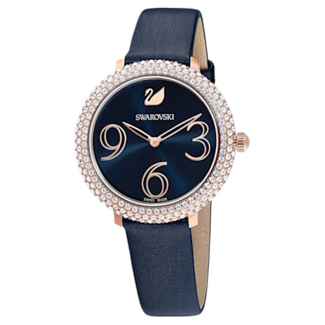 Orologio Crystal Frost, Cinturino in pelle, azzurro, PVD oro rosa - Swarovski, 5484061