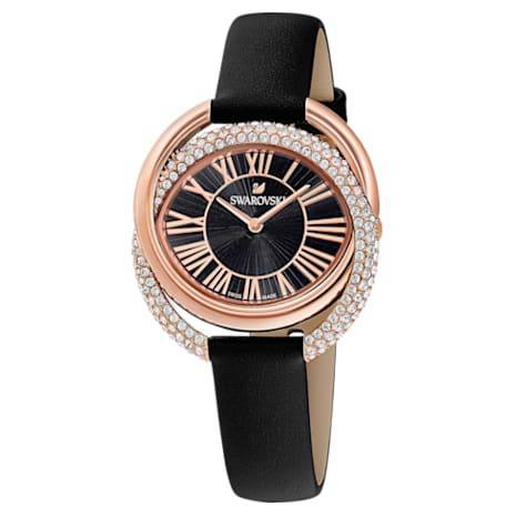 Duo Watch, Leather Strap, Black, Rose-gold tone PVD - Swarovski, 5484373
