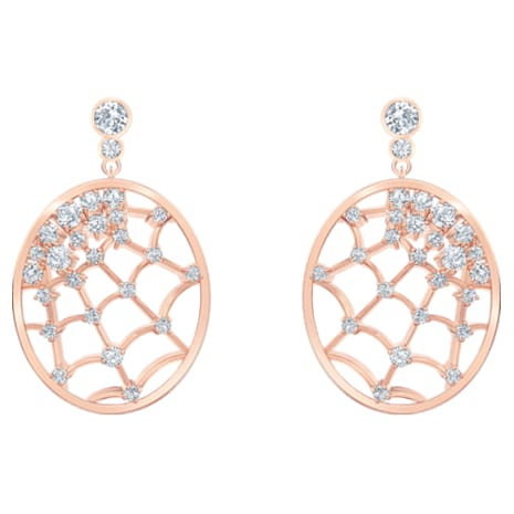 Precisely Drop Pierced Earrings White Rose Gold Tone Plated