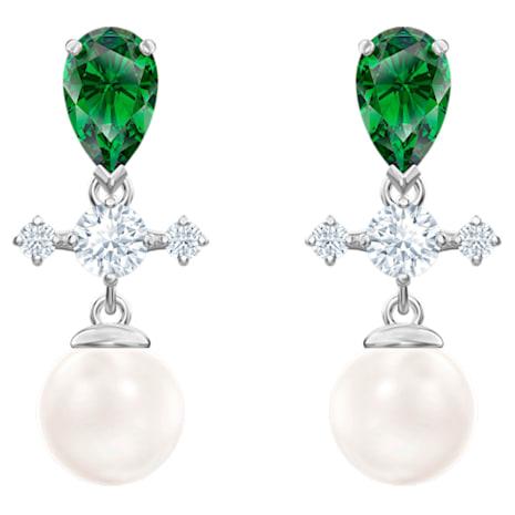 Perfection Серьги с подвесками, Зеленый Кристалл, Родиевое покрытие - Swarovski, 5489440
