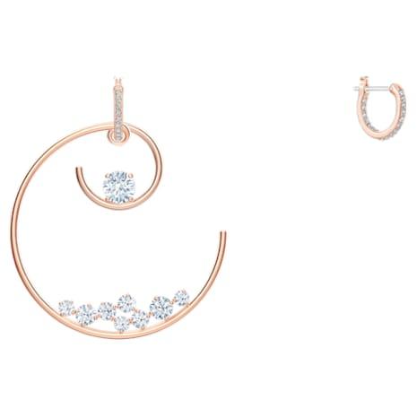 North Hoop Pierced Earrings, White, Rose-gold tone plated - Swarovski, 5493391