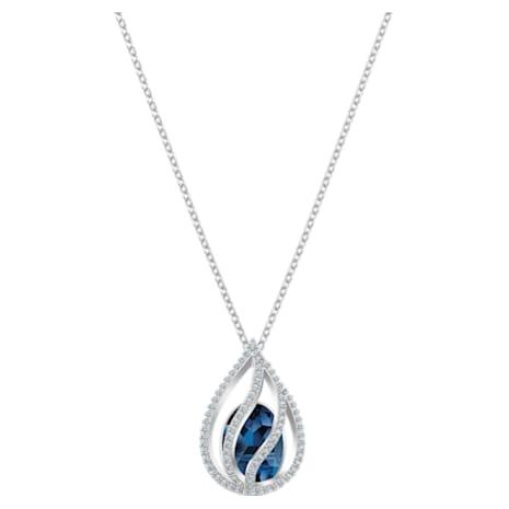 Energic Pendant, Blue, Rhodium plated - Swarovski, 5494970