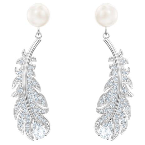 Boucles d'oreilles Nice, blanc, Métal rhodié - Swarovski, 5496052