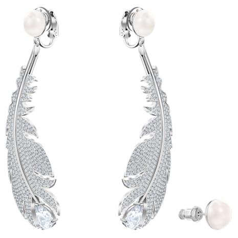 Nice Clip Earrings, White, Rhodium plated - Swarovski, 5497866