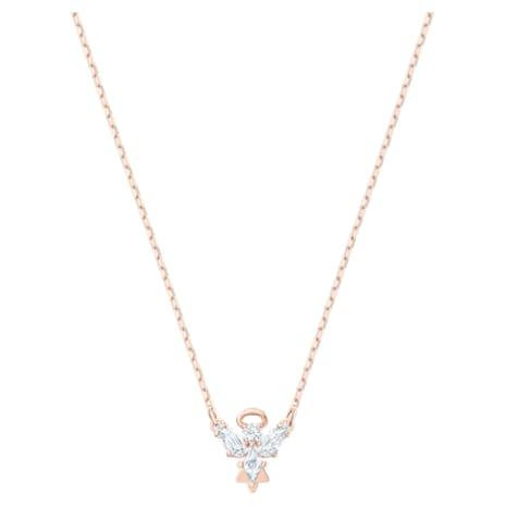 Magic Angel Necklace, White, Rose-gold tone plated - Swarovski, 5498966
