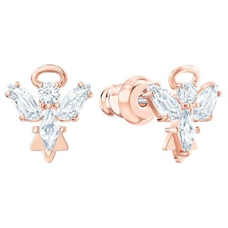 Pendientes de botón Magic Angel, blanco, Baño en tono Oro Rosa - Swarovski, 5498971