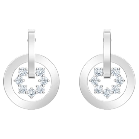 Further Drop Pierced Earrings, White, Rhodium plated - Swarovski, 5499002