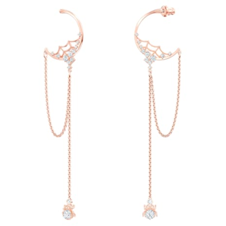 Precisely Hoop Pierced Earrings, White, Rose-gold tone plated - Swarovski, 5499888
