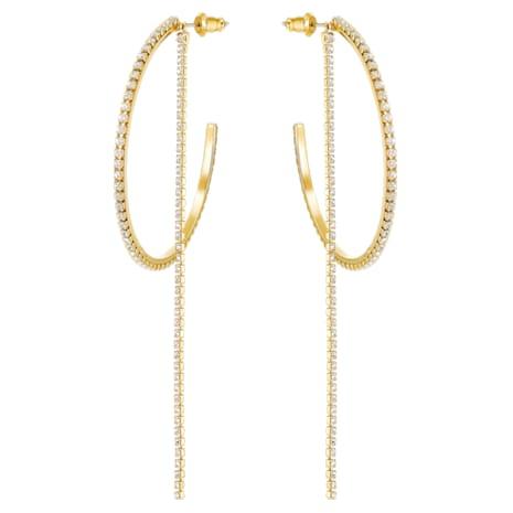 Fit Hoop Pierced Earrings, White, Gold-tone plated - Swarovski, 5504573