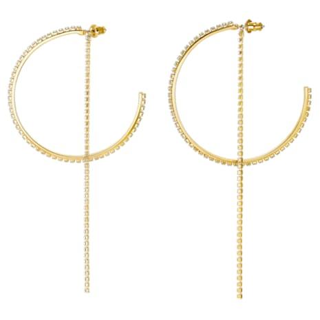 Fit Halka Küpeler, Beyaz, Altın rengi kaplama - Swarovski, 5504573