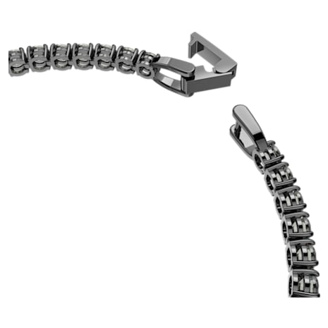 Tennis Deluxe Bracelet, Black, Ruthenium plated - Swarovski, 5504678