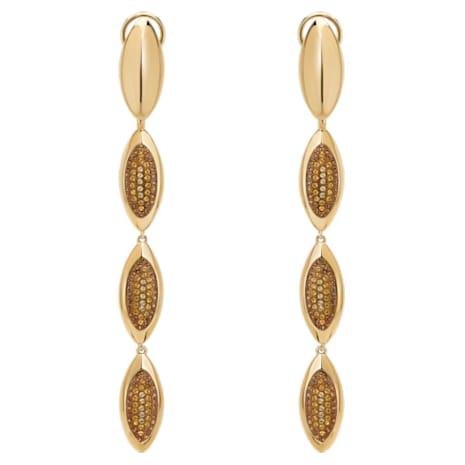 Evil Eye Drop Clip Earrings, Brown, Gold-tone plated - Swarovski, 5511785