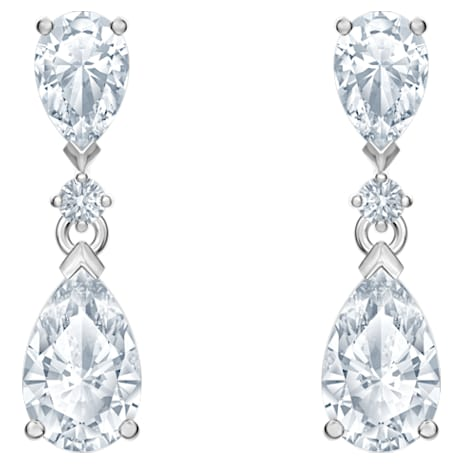 Palace Drop Pierced Earrings, White, Rhodium plated - Swarovski, 5512393