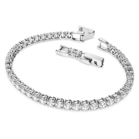 Pulsera Tennis Deluxe, blanco, Baño de Rodio - Swarovski, 5513401