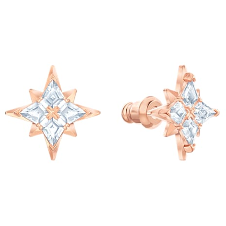 Swarovski Symbolic Star Set, White, Rose-gold tone plated - Swarovski, 5517178